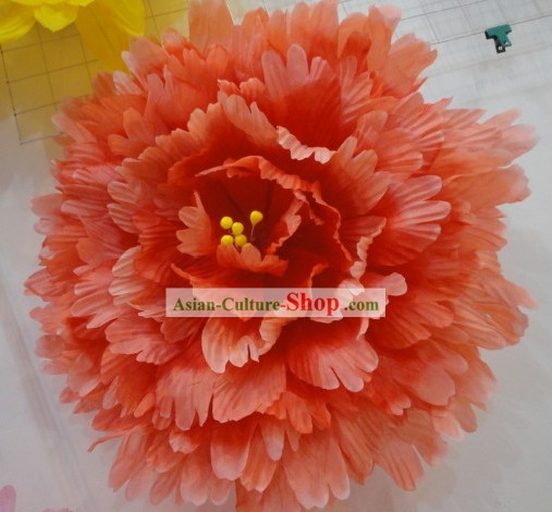 Chinese Classic Red Peony Flower Dance Umbrella