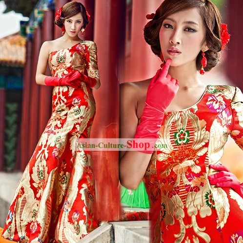 Chinese Classic Red Golden Dragon Wedding Evening Dress