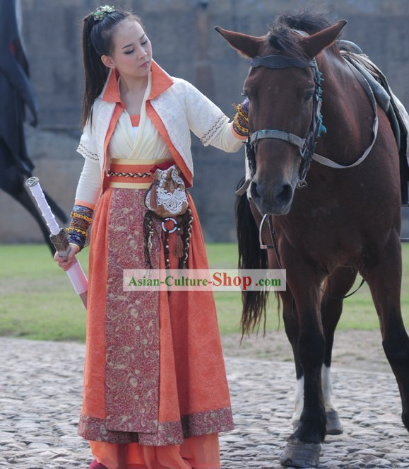 Ancient Chinese Female Knight Costumes Complete Set