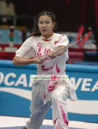 White Kung Fu Competition and Exercises Silk Dress Complete Set for Women