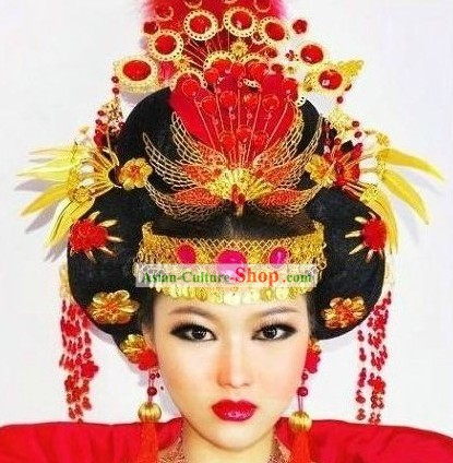 Chinese Classic Wedding Phoenix Hairpin Complete Set for Women