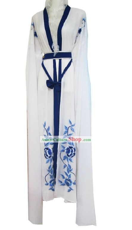 Ancient Chinese White Long Sleeve Dance Costume for Women