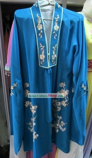 Chinese Opera Blue Embroidered Flower Costumes for Women