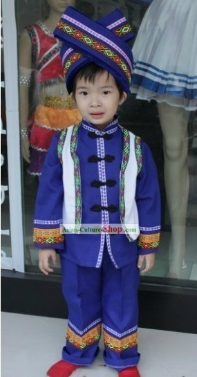Chinese Zhuang Ethnic Clothes and Hat for Children
