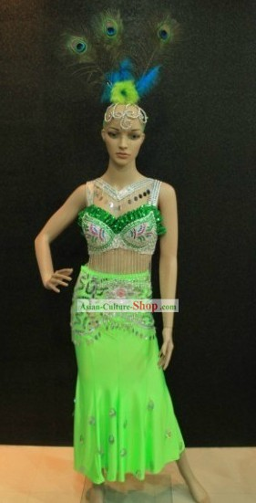 Peacock Dance Costumes and Head Pieces Complete Set for Women