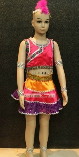 Chinese Ethnic Dancing Costumes and Hair Accessories for Children