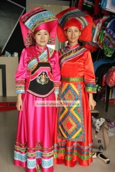 Guangxi Zhuang Ethnic Clothing and Hat Two Complete Sets