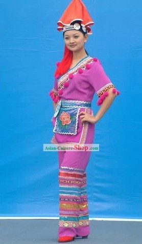 Chinese Ethnic Zhuang Garment Complete Set for Women