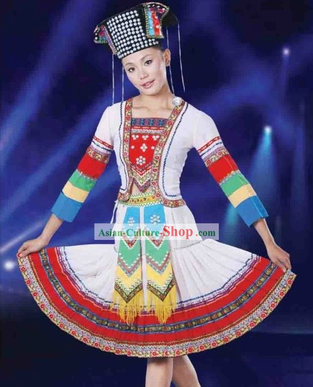 Chinese Ethnic Hani Dance Costumes and Hat for Women