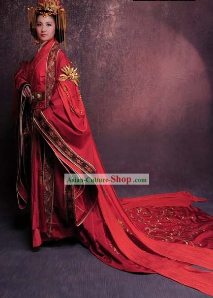 Ancient Chinese Han Dynasty Wedding Clothing and Headpieces for Women