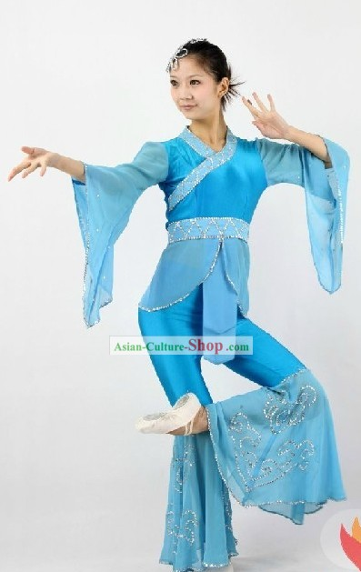 Chinese Classical Blue Dance Costumes for Women