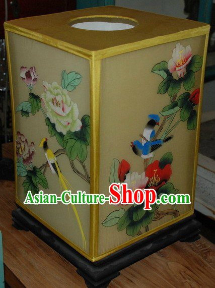 Chinese Classic Handmade and Painted Silk Desk Lamp