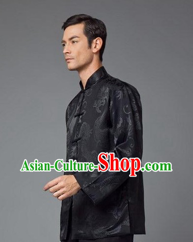 Traditional Chinese Black Dragon Coat for Men