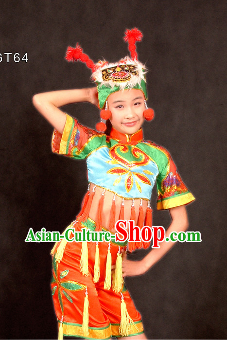 Traditional Chinese Spring Festival Celebration Dance Costume and Hat for Children