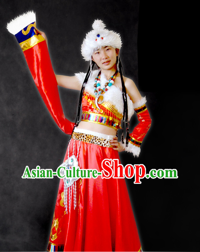 Chinese Tibetan Robe and Hat Complete Set for Women