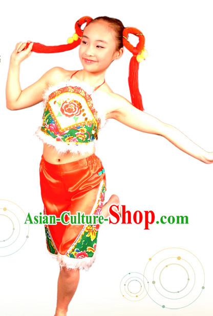Chinese New Year Dance Han Ethnic Costumes and Hair Accessories for Kids
