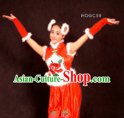 Traditional Chinese Han Minority Lantern Dance Costumes and Hair Accessories for Women