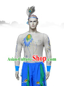 Traditional Chinese Peacock Tribe Village Dance Costume for Men