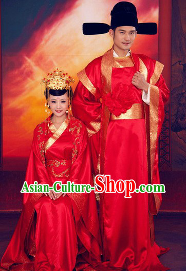 Chinese Classical Wedding Dresses and Hats Two Complete Sets for Brides and Bridegroom