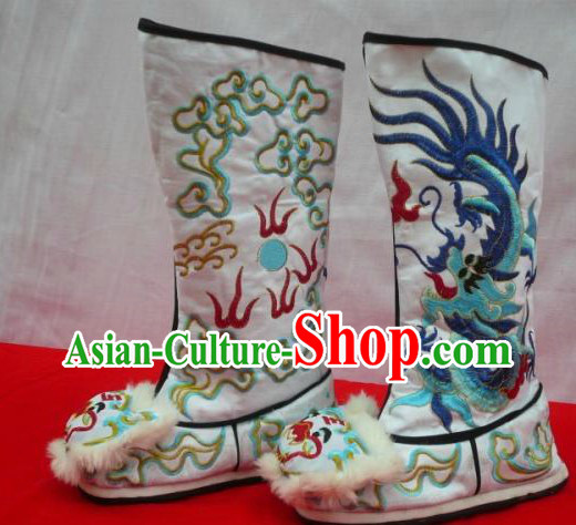 Chinese Opera General Embroidered Dragon Long Boots for Men