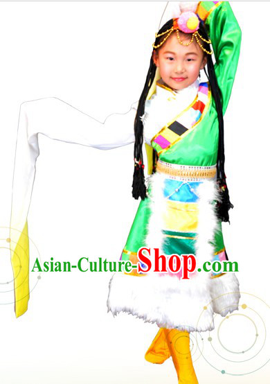 Traditional Chinese Tibetan Clothing and Hair Accessories for Children