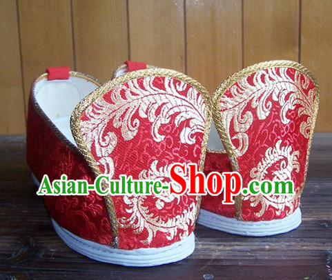 Chinese Classical Red Phoenix Wedding Shoes for Women