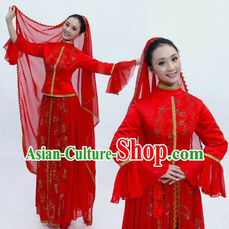 Traditional Chinese Xinjiang Ethnic Wedding Dress Complete Set for Women
