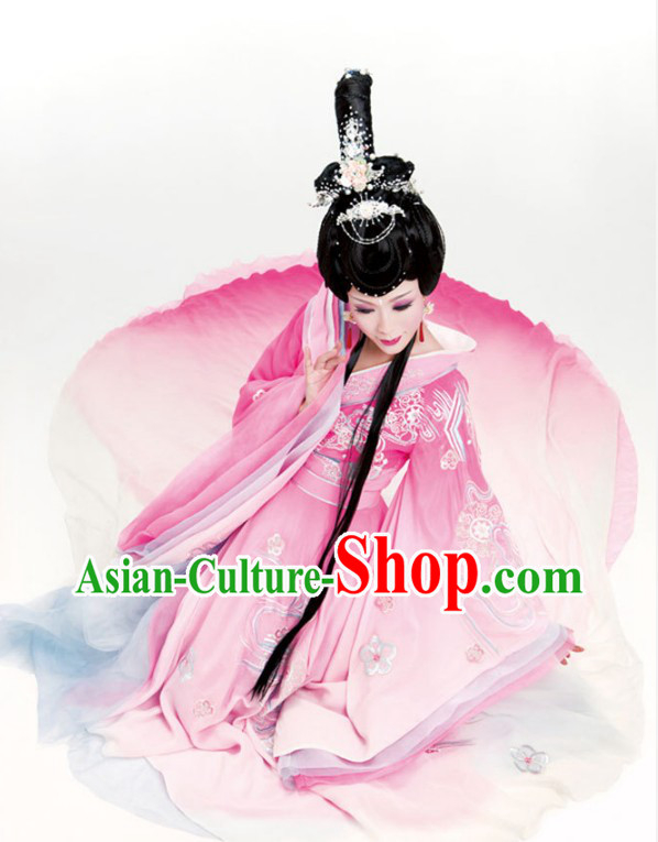 Ancient Chinese Four Beauties Diao Chan Costumes and Hair Accessories Complete Set