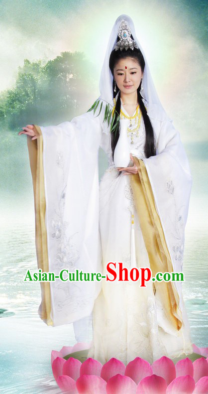 Ancient Chinese Guan Yin Buddha White Costume and Hair Accessories Complete Set