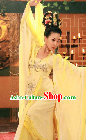 Ancient Chinese White Palace Dancing Costumes, Wig and Hair Accessories
