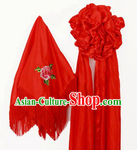 Traditional Chinese Wedding Red Flower and Veil Set