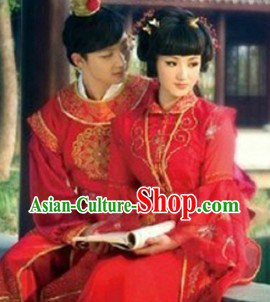 Ancient Chinese Red Chamber Dream Wedding Dresses for Brides and Bridgrooms