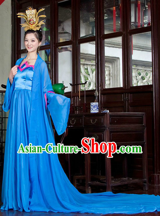 Ancient Chinese Blue Long Tail Hanfu Clothing for Women