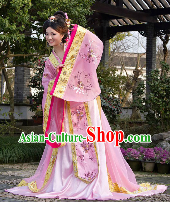 Ancient Chinese Tang Princess Pink Clothing for Women
