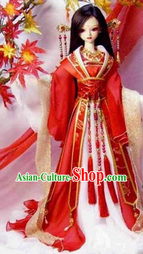 Traditional Chinese Red Wedding Dress Complete Set for Women