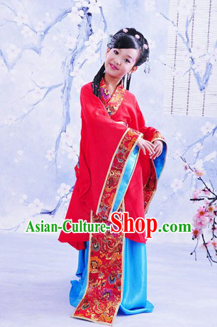 Traditional Chinese Beauty Red Hanfu Clothing for Children