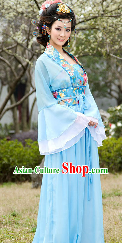 Traditional Chinese Blue Wide Sleeve Clothing for Women