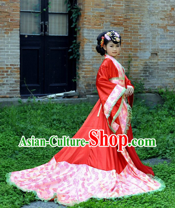 Ancient Chinese Red Long Tail Empress Costume for Kids