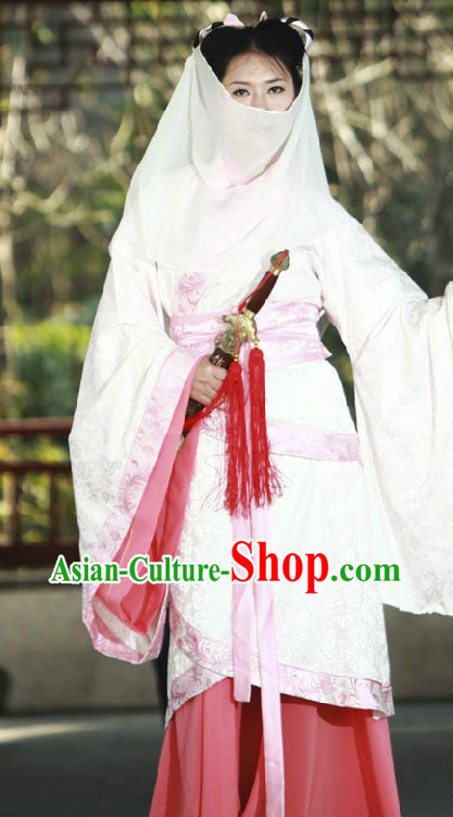 Ancient Chinese Knight Women Clothing and Veil