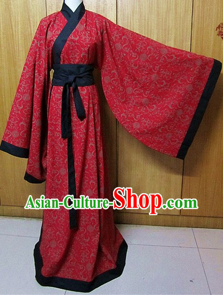 Ancient Chinese Han Dynasty Red Flower Clothing for Women
