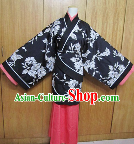 Ancient Chinese Black Flower Han Fu Clothing for Women