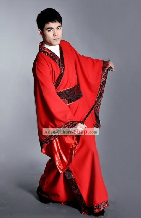 Traditional Red Chinese Han Clothing for Men