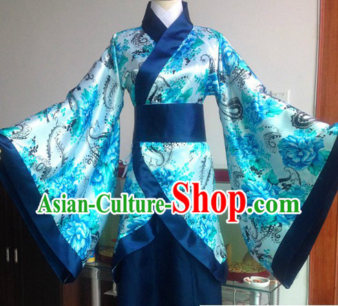 Ancient Chinese Blue Flower Clothing Complete Set for Women