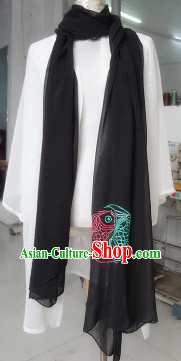Chinese Classic Embroidered Fishes Kung Fu and Tai Chi Scarf for Men