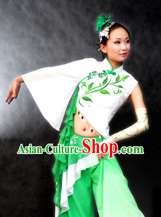 Chinese Classical Jasmine Blossoms Dance Costume and Headpiece
