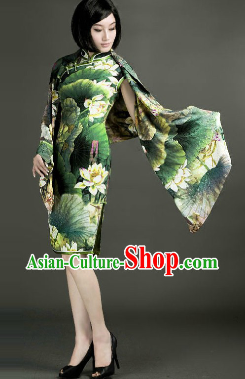 Chinese Classical Green Lotus Cheongsam for Women