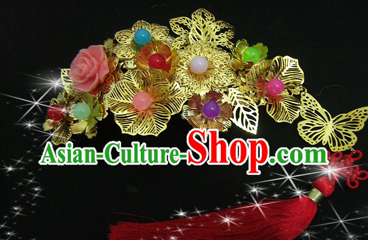 Traditional Chinese Xiu He Mandarin Wedding Golden Flower Hair Accessories with Red Tassels