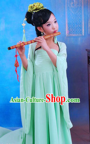 Ancient Chinese Green Musician Costume for Kids
