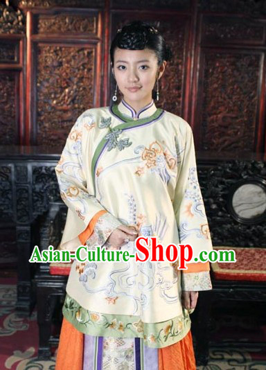 Traditional Chinese Mandarin Minguo Lady Blouse and Skirt