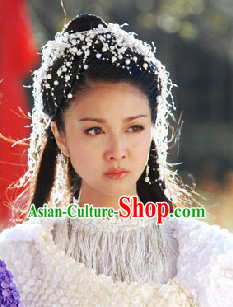 Ancient Chinese White Pearl Fairy Hair Decoration and Earrings
